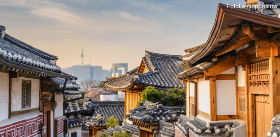 Bukchon Hanok Village and Seoul City Skyline